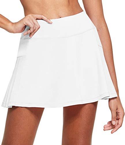BALEAF Damen Tennis Röcke Golf Skort Minirock für Sport Weiß L