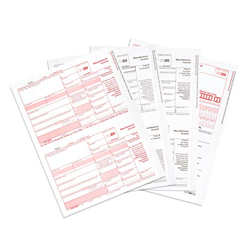 1099 MISC Forms 2020, 5 Part Tax Forms Kit, 50 Vendor Kit of Laser Forms, Compatible with QuickBooks and Accounting Software