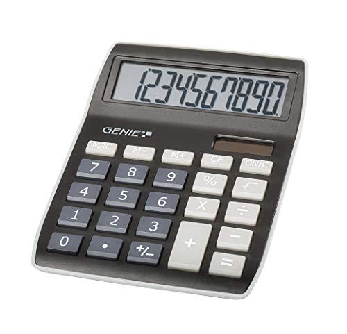 Genie 840 BK 10-stelliger Tischrechner, Dual-Power (Solar und Batterie), kompaktes Design, schwarz