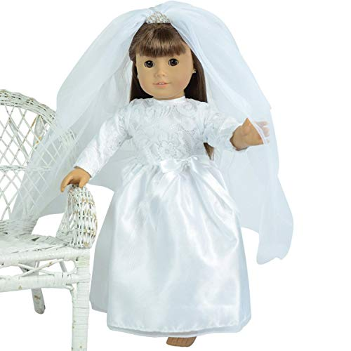 The New York Doll Collection Brautkleid mit Schleife, Spitzenoberteil, Ärmeln und Schleier mit Tiara für Mode Mädchen Puppen - Puppe Hochzeitskleid - Passt 18 Zoll/46cm Puppen - Puppenkleid & zubehör