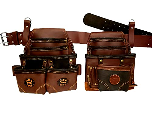USA Pro Tools Tool Belt | Leather Tool Rig for Carpenters, Framers, Electricians, Constructors, and Handyman | Adjustable Tool Pouches.