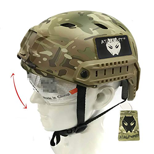 Worldshopping4U ATAIRSOFT - Casco da combattimento, stile militare SWAT, tipo BJ con occhialini per softair, paintball, multicam