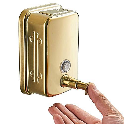 WSLWJH zeepdispenser badkamer 304 roestvrij staal wandmontage handmatig gouden zeepdispenser 1000 ml shampoo douchegel fles handdesinfectiebox 500 ml.