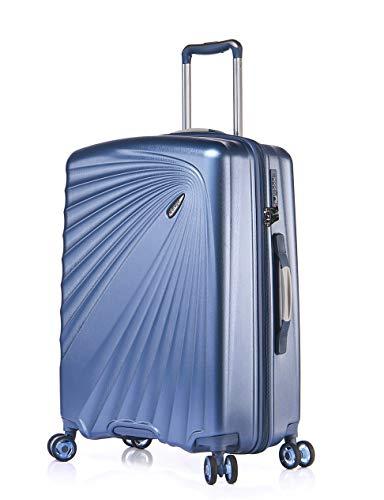 ABISTAB VERAGE Kinetic 4-Doppel-Rolle Trolley groß leicht L-76cm 106-127L erweiterbar, TSA-Schloss, ABS/PC Hartschalen-Koffer, Reisekoffer, Blau