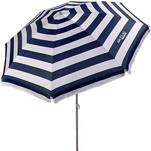 Aktive 62223 - Sombrilla de playa, diámetro180 cm, con protección UV filtro 50, mástil diámetro 22-25 mm, incluye bolsa para transportarla, estampado a rayas marineras