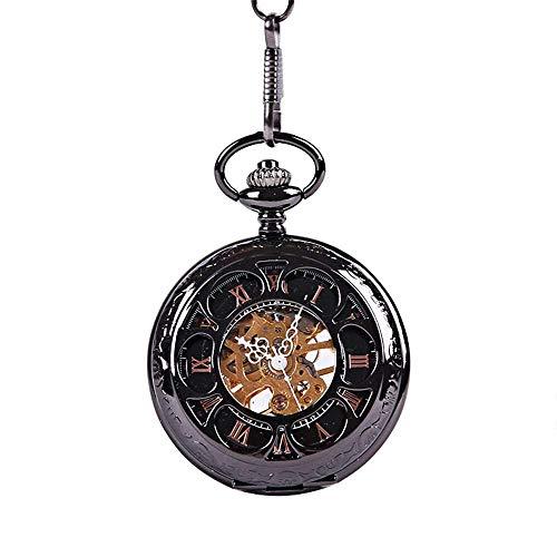 DSHUJC Reloj de Bolsillo Reloj de Bolsillo Retro Bronce Mecánico Números Romanos Reloj de Bolsillo Reloj de Bolsillo mecánico para Hombres y Mujeres Regalo de cumpleañ