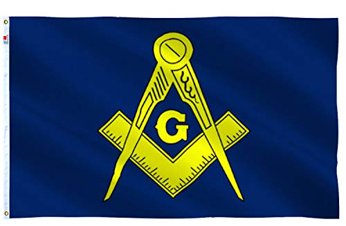 rhungift Masonic Flag 3x5 Ft Outdoor Large, Moderate-Outdoor Both Sides Heavy Duty100D Polyester,Freemason Flag, Brass Grommets for Easy Display,Mason Free Freemasonry Flags