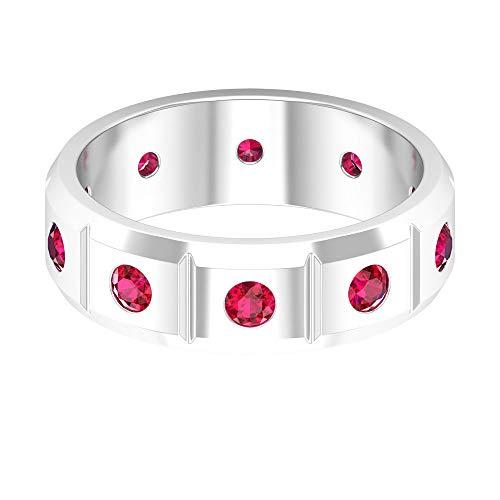 Anillo de compromiso para hombre, anillo de pareja, anillo de boda de rubí de 1 ct, anillo de piedra natal de julio, anillo de aniversario, anillo de declaración unisex, 10K Oro blanco, Size:EU 63