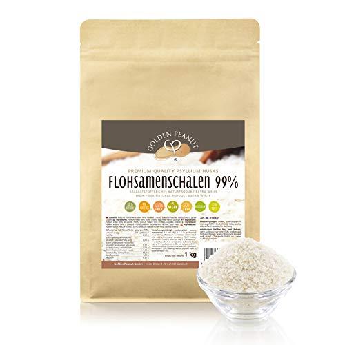 Flohsamenschalen 99 % Reinheit 1 Kg, Extra Weiß, Premium Qualität, höhste Quellzahl, getestet, allergenfrei, Glutenfrei, Vegan, keimreduziert. Low-Carb