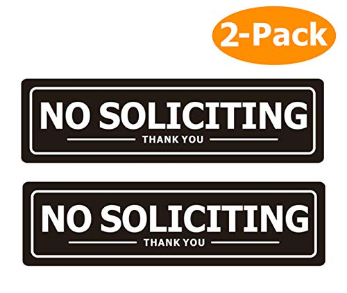 No Soliciting Sign for Door - Metal Signs for House Business and Office Wall - Weather Resistant Aluminum with Strong Self Adhesive (2 Pack, Black 7×2 inches)