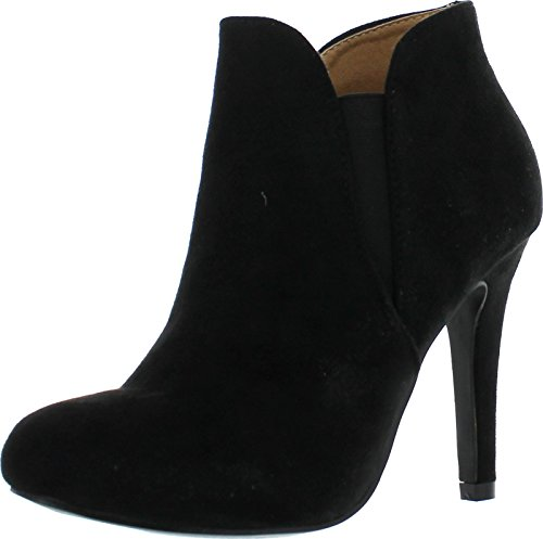 Bella Marie Kendall Women's Classic Chelsea style Round Toe Elastic Gore high heel Ankle Boots Booties Black 9