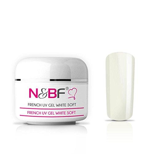 N&BF Gel french UV blanc soft/de couleur blanche, gel pour ongles, gel de couleur pour ongles en gel, faux ongles, manucure, Nails, moyen visqueux 15ml