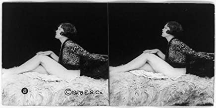 HistoricalFindings Photo: Photo of Stereograph,Partially Nude Woman,Glamour,c1928,Seated on Bed