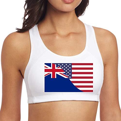 XCNGG Nueva Zelanda Estados Unidos Bandera de la Amistad Mujeres Sujetadores Deportivos Sin Mangas Racerback para Yoga Gimnasio Entrenamiento Fitness