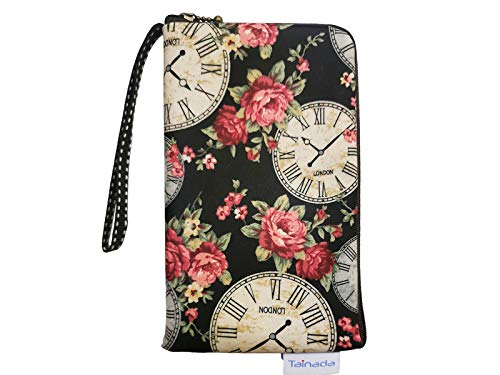 Smartphone Wristlet Pouch for Women Ladies, Tainada Dual Slots Zipper Wallet Purse Shockproof Wristlet Bag for iPhone 11, 11 Pro Max, XR, Samsung S10+, Note 10+, Google Pixel 4, 3a XL (Clock & Rose)
