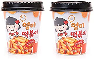 Young Mi Instant Toppoki Cup Rice Cake, Tteokbokki Popular Korean Snack With A Spicy Sauce , Stir-fried Rice Cake, Ddokbokki (Spicy-2 cups)