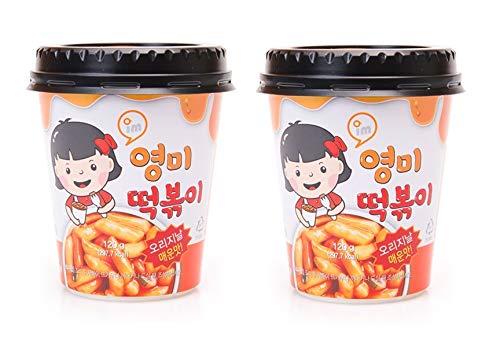 Young Mi Instant Toppoki Cup Rice Cake, Tteokbokki Popular Korean Snack With A Spicy Sauce , Stir-fried Rice Cake, Ddokbokki (Spicy-2 cups)