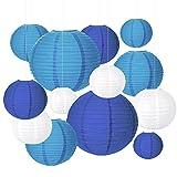 HONMOK 20pcs Linternas de Papel Blanca Azul Redonda Farolillos de Papel Colgantes celestiales Chino 4' 6' 8' 10' lámpara de Papel Techo Decoración Interior Exterior Boda Fiesta DIY Baby Shower