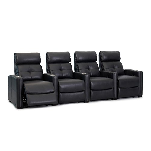 Octane Seating Cloud XS850 | Row 4 Theatre Chairs | Rich Black Bonded Leather | Chaise Footrest | Lumbar Support | Accessory Dock | Espresso Wood Feet | Removable Metal Drink Holders