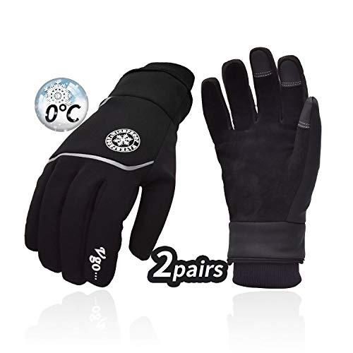 Vgo. 2Pairs 32°F of Boven 3M Thinsulate C40 Gevoerde Herten Leer Outdoor Winter Handschoenen voor Mannen, Wandelen Fietsen Vissen Jacht Werken (Zwart, DB9708FW)