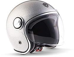 "SOXON® SP-888 Pro ""Flakes Silver"" · Jet-Helm · Motorrad-Helm Roller-Helm Scooter-Helm Moped Mofa-Helm Chopper · ECE 22.05 Sonnenvisier Leather-Design Schnellverschluss SlimShell Tasche XL (61-62cm)"