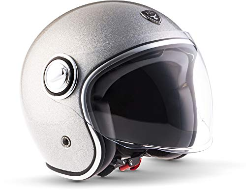 "SOXON® SP-888 Pro ""Flakes Silver"" · Jet-Helm · Motorrad-Helm Roller-Helm Scooter-Helm Moped Mofa-Helm Chopper · ECE 22.05 Sonnenvisier Leather-Design Schnellverschluss SlimShell Tasche L (59-60cm)"