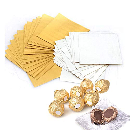 300 Pieces 4 Inch Square Golden Aluminium Foil Candy Wrappers Sugar Wraps Paper for DIY Candies and Chocolate Packaging by Party/Wedding/Birthday/Chrismas Accessories