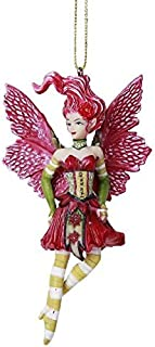 Pacific Giftware Poinsettia Fairy Hanging Ornament Amy Brown Holiday Collection Christmas Tree Hanging Ornaments 4 inch