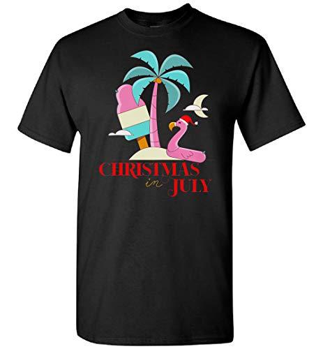 Divertido Flamingo Tropical en Santa Hat Navidad en julio T-shirt, Hoodie, Personalizado