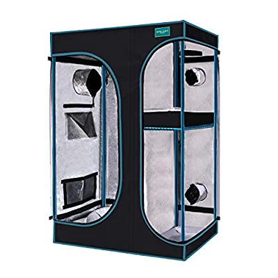 """OPULENT SYSTEMS 2-in-1 Grow Tent 36""""x24""""x53"""" Mylar Reflective Water-Resister Hydroponic Growing Tent with Observation Window, Removable Floor Tray and Tool Bag for Indoor Plant Growing Systems"""