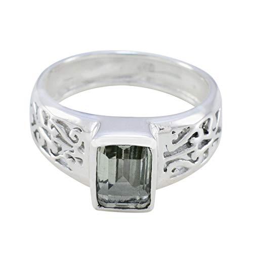 joyas plata echte edelsteine achteckige form ein stein facettierter grüner amethyst ring - sterlingsilber grüner amethyst ring - märz geburt fische astrologie echte edelsteine ring