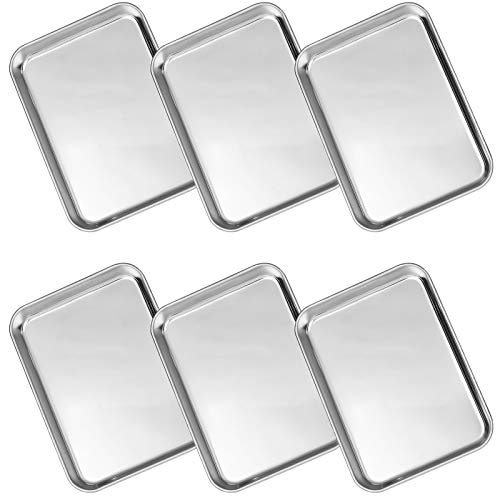 WEZVIX Juego de 6 bandejas de horno de acero inoxidable para cena, bandeja de galletas de 18.5 x 13.5 x 2 cm, no tóxica y saludable, gruesa y resistente, fácil de limpiar y apta para lavavajillas