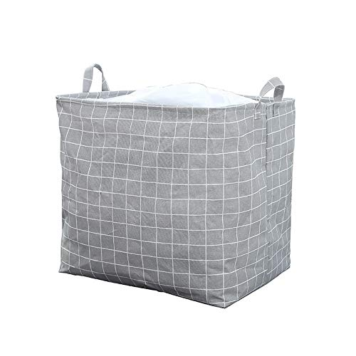 Tianzhi Huafeng Clothes quilt storage bag, bedroom clothes storage bag, quilt bag, quilt storage bag, portable foldable laundry basket for packaging clothes ( Color : Grey lattice , Size : 40*50*50 )