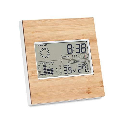 Termómetro de interior de bambú real, reloj digital de madera, higrómetro, termómetro, calendario LCD con el icono de confort, medición de temperatura y humedad ambientales, estación meteorológica
