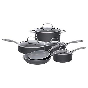 Bialetti 10 Piece Hard Anodized Ceramic Pro Cookware Set Nonstick Ceramic Interior Gray