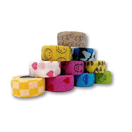 Pflasterverband, Wundpflaster, Kinderpflaster, Tierpflaster, elastisch & ohne Kleber, 2,5cm breit (10er Packung, Gemischt)