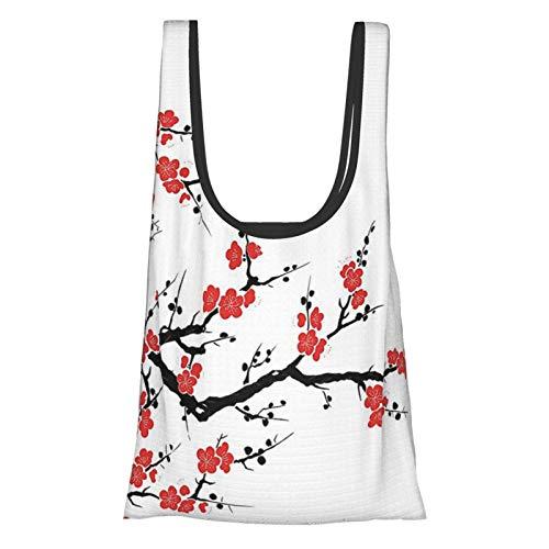 Gierter Collection Décor Japonais Simpliste Cerisier Fleur Asiatique Motif Botanique Fraîche Lignes Bio Travail Art Art Rouge Noir Réutilisable Sacs Shopping Pliables Respectueux de l'environnement
