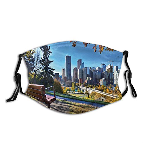 VANKINE Face Cover,City Autumn Park in Calgary Print,Balaclava Unisex Reusable Windproof Anti Dust Mouth Bandanas Outdoor Camping Motorcycle Running Neck Gaiter with 2 Filters