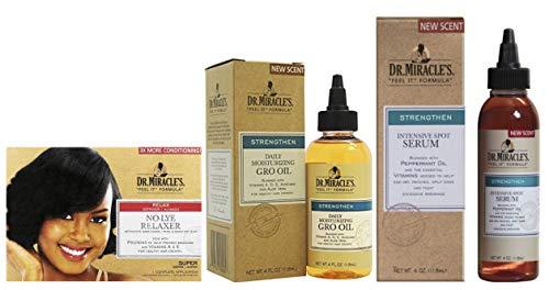 Dr. Miracles No Lye Super Relaxer Kit hydratant quotidien Gro Oil 113,4 g et sérum intensif 113,4 g