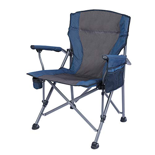 REDCAMP Oversized Folding Camping Chairs for Adults Heavy Duty 500lb, Sturdy Steel Frame Portable Outdoor Sport Chairs with High Back and Hard Arms, Blue