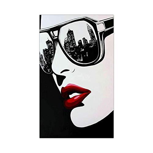 Decoración de pared de moda mujer gafas de sol pintura impresa en lienzo cartel de creatividad imágenes artísticas para sala de estar decoración del hogar sin marco