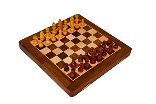 Ajuny Juegos de Mesa de ajedrez para Adultos y Familiares Plegables para almacenar Piezas magnéticos para Jugar Durante los Viajes Sheesam y Madera de Arce tamaño 7 x 3,75 x 1,75 Pulgadas