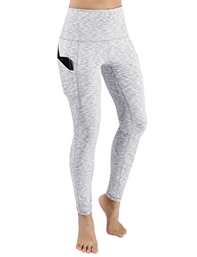 ODODOS Women's High Waist Yoga Pants with Pockets,Tummy Control,Workout Pants Running 4 Way Stretch Yoga Leggings with Pockets,SpaceDyeWhite,Small