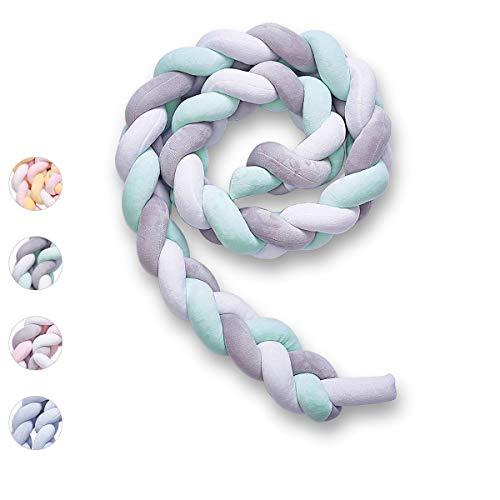 Wuudi Bettumrandung Baby Nestchen Weben Geflochtene Stoßfänger Dekoration 3M für Krippe Kinderbett (Grau + Weiß + Grün)