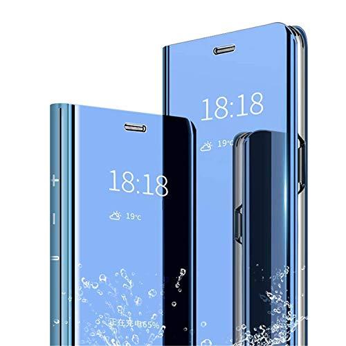 Adamarkeer Coque pour Samsung Galaxy A20E Case Placage Flip Miroir Case Smart Clear View Standing Housse Antichoc Protecteur Étui PU Cuir Cover Bumper Couverture (Bleu)