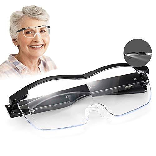 Aooeou Lupenbrille mit Licht als Lesehilfe und Sehhilfe,Vergrößerungsbrille mit 2 LED Lichts 160% Hände Frei Blaulichtfilter Lupen Lese Leselupe für Brillenträger,Nähen,Reparatur,Senioren Damen Herre