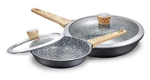 Kopf 125327 Paolo Set de sartenes de diseño, fundición de aluminio granito