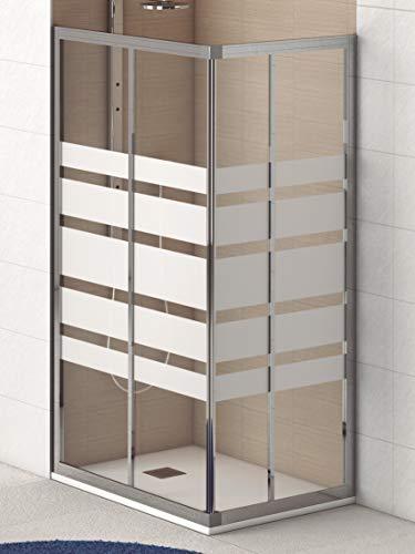 Mampara de Ducha Angular Modelo PIAMONTE (2 Hojas Fijas y 2 Correderas) Cristal Decorado de 4 mm y Perfil Aluminio Cromado Plata Brillo Medida 70x100