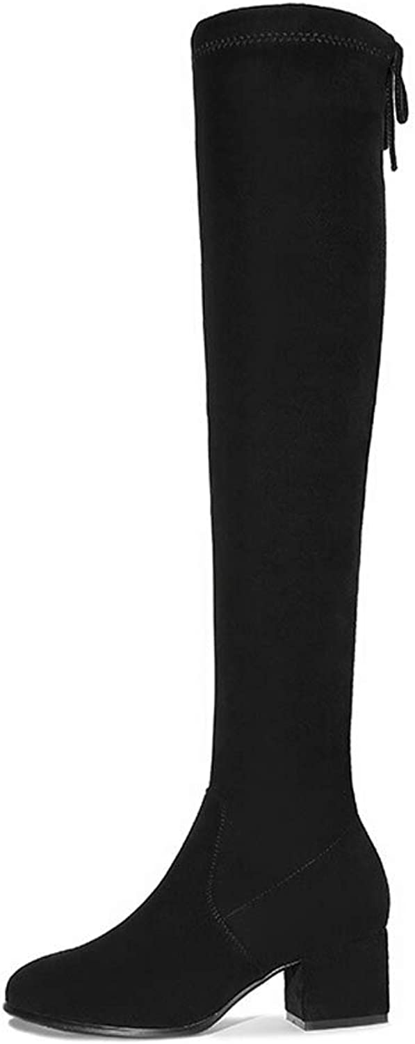Over The Knee Long Tube Women's Boots Fashion Round Head Thick with Women's Boots Sleeve Solid color Casual Boots Large Size Women's shoes Black