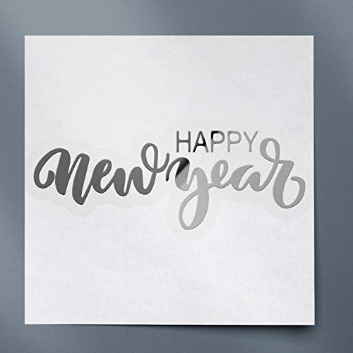 USC DECALS Happy New Year ! (Metallic Silver) (Set of 2) Premium Waterproof Vinyl Decal Stickers for Laptop Phone Accessory Helmet Car Window Bumper Mug Tuber Cup Door Wall Decoration